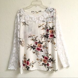 Rose lace sleeve floral print tunic blouse XXL